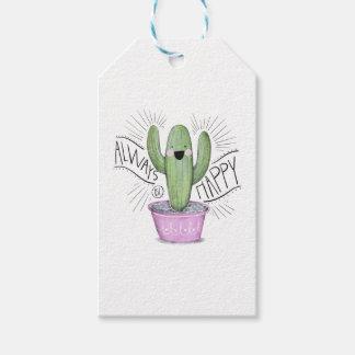 Immer glückliche Kaktus-Pflanze Geschenkanhänger