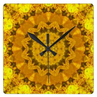 Immer Sommer-Mandala-Wanduhr Quadratische Wanduhr