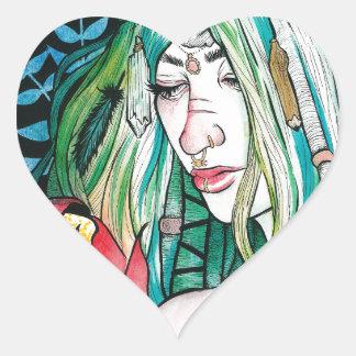 Immergrün - Aquarell-Porträt Herz-Aufkleber