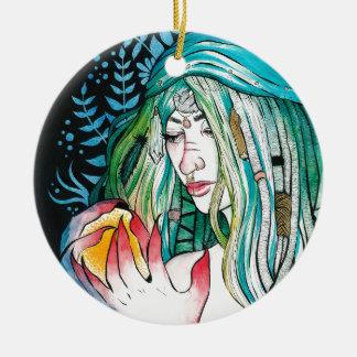 Immergrün - Aquarell-Porträt Keramik Ornament