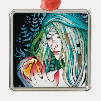 Immergrün - Aquarell-Porträt Silbernes Ornament