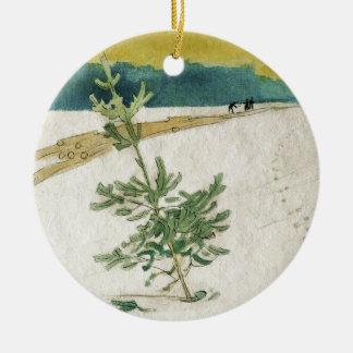 Immergrün im Schnee Keramik Ornament