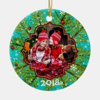 Immergrüne Stechpalmen-Schneeflocken Keramik Ornament
