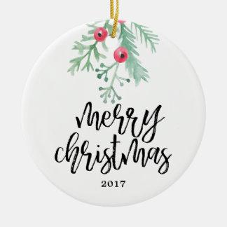 Immergrüne Weihnachtsfeiertags-Foto-Verzierung Keramik Ornament