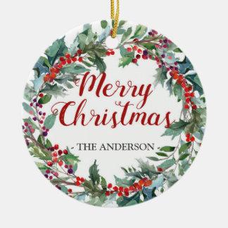 Immergrüne Weihnachtswreath-Fotoverzierung Keramik Ornament