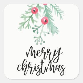 Immergrüner Weihnachtsfeiertags-Aufkleber Quadratischer Aufkleber