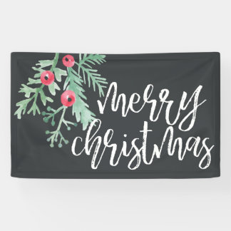 Immergrüner Weihnachtsfeiertags-Fahnen-Schiefer Banner