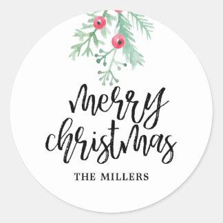 Immergrüner Weihnachtsfeiertags-personalisierte Runder Aufkleber