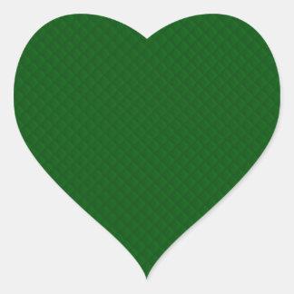 Immergrünes grünes Steppdecken-Muster Herz-Aufkleber