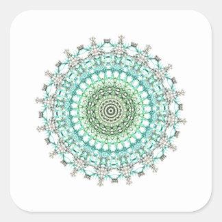 Immergrünes Mandala-Muster Quadratischer Aufkleber