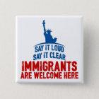 Immigranten begrüßen quadratischen Knopf Quadratischer Button 5,1 Cm