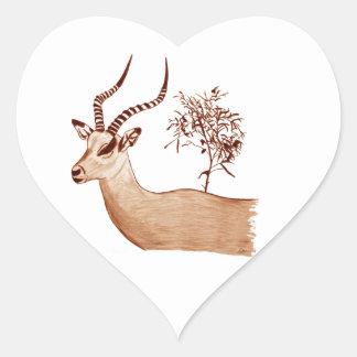 Impala-Antilopen-Tierwild lebende tiere, die Herz-Aufkleber