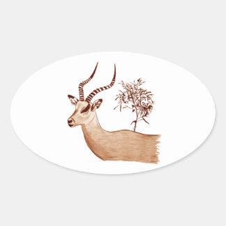 Impala-Antilopen-Tierwild lebende tiere, die Ovaler Aufkleber