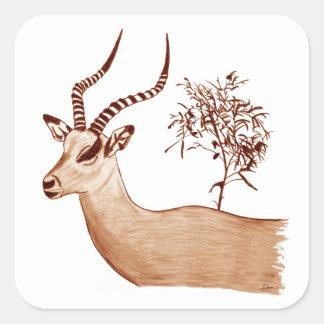 Impala-Antilopen-Tierwild lebende tiere, die Quadratischer Aufkleber