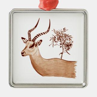 Impala-Antilopen-Tierwild lebende tiere, die Quadratisches Silberfarbenes Ornament