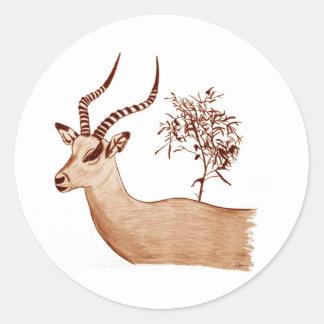Impala-Antilopen-Tierwild lebende tiere, die Runder Aufkleber