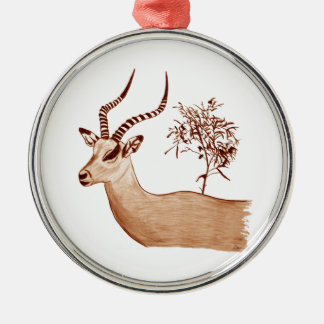 Impala-Antilopen-Tierwild lebende tiere, die Silbernes Ornament