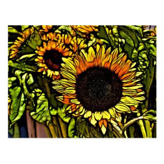 Impressionismusmalereiland-Gelbsonnenblume Postkarte