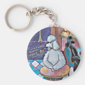 Impressionist-Kunst-Pudel-Paris-Café Keychain Schlüsselbänder