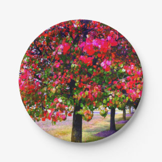 Impressionistische Herbstbäume Pappteller