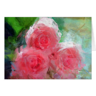 Impressionistische rosa Rosen Karte