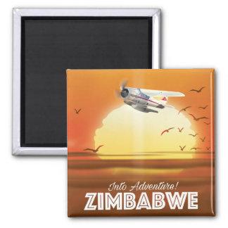 In Abenteuer! Simbabwe-Reiseplakat Quadratischer Magnet