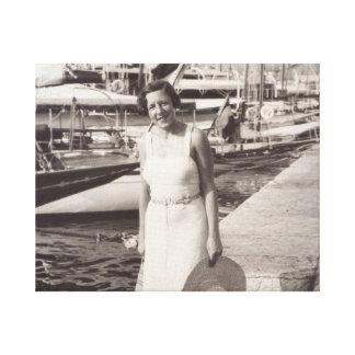 In Cannes gehen, alte Fotografiedreißiger jahre Leinwanddruck