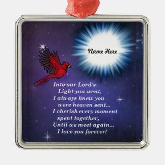 In den hellen Kardinal Quadratisches Silberfarbenes Ornament