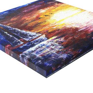 In den Sonnenuntergang-Acrylmalerei-Druck Leinwanddruck