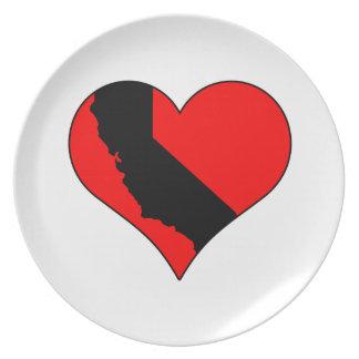 In der Liebe mit Kalifornien-Herzen mit Staat Melaminteller