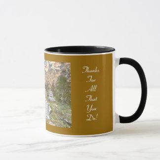 In der Linie der Aufgaben-Kaffee-Tasse Tasse