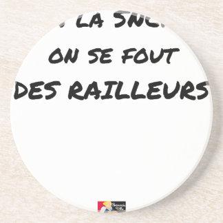 In der SNCF MAN ES FOUT der SPÖTTER - Wortspiele Sandstein Untersetzer