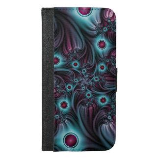 In die Tiefen-blaue rosa abstrakte Fraktal-Kunst iPhone 6/6s Plus Geldbeutel Hülle