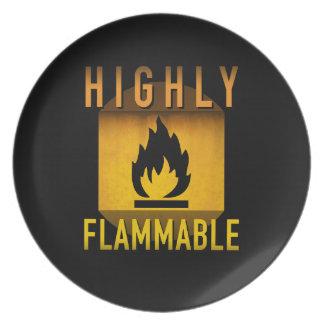 In hohem Grade brennbarer warnender Retro Teller