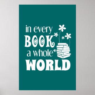 In jedem Buch ein ganzes Weltplakat Poster