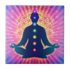 In Meditation mit Chakren - Artwork IV Fliese