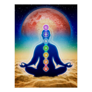 In Meditation mit Chakren - Roter Mond Edition Poster