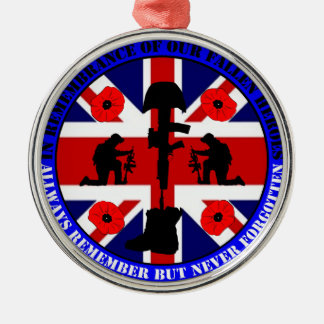 In Remembrance of our fallen UK Heroes Silbernes Ornament