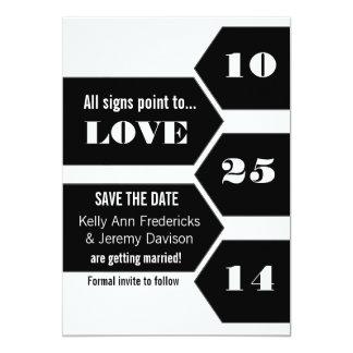 In Richtung zur Liebe-Mitteilung Save the Date 12,7 X 17,8 Cm Einladungskarte