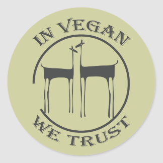 IN VEGAN WE TRUST - */* 1 RUNDER AUFKLEBER