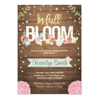 In voller Blüte Babypartyeinladung mit Blumen Karte