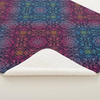 Inder Mandana Kunst-Muster-blaue Magenta Sherpadecke