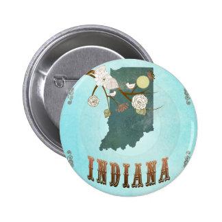 Indiana-Karte mit reizenden Vögeln Runder Button 5,1 Cm