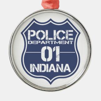 Indiana-Polizeidienststelle-Schild 01 Silbernes Ornament