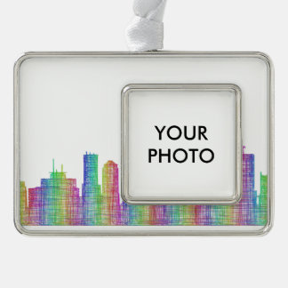 Indianapolis-Stadt-Skyline Rahmen-Ornament Silber