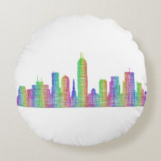 Indianapolis-Stadt-Skyline Rundes Kissen