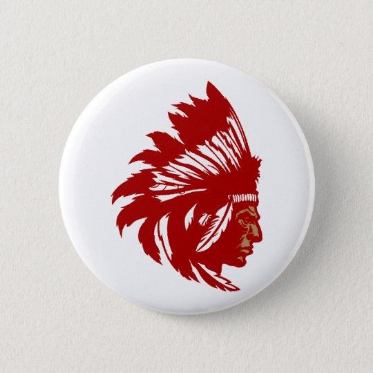 Indianer Häuptling Kopf Native American chief head Runder Button 5,7 Cm