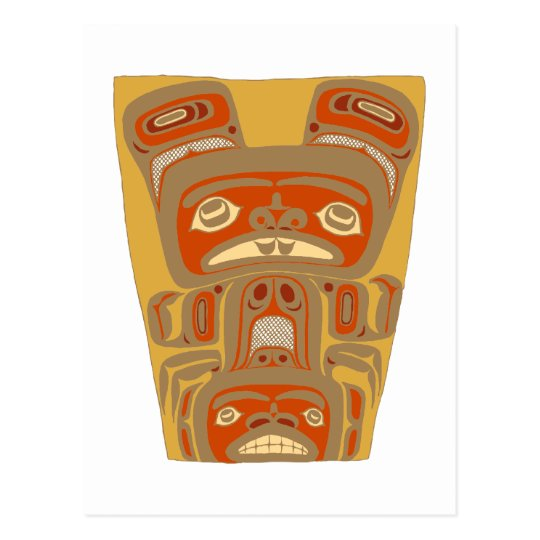 Indianer Native American Holzmaske wooden mask Postkarte