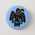 Indianer Native American Rabe raven Runder Button 5,1 Cm