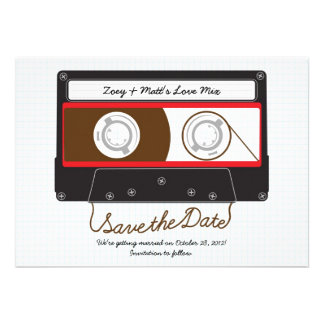 Indie Mixtape Hochzeit (schwarz/Rot) Save the Date Individuelle Ankündigungskarte